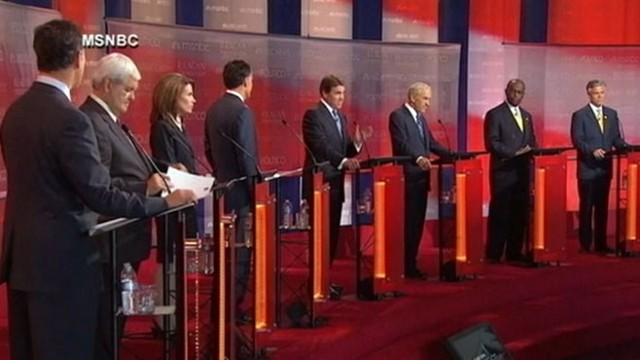 VIDEO: Republican contenders clash in first debate featuring front-runner Rick Perry.