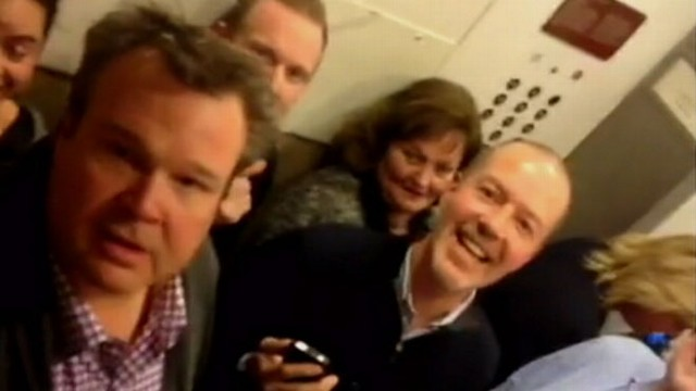 VIDEO: John Muller reports the stars reactions to being stuck in jam-packed elevator.
