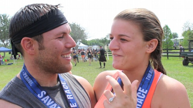 VIDEO: A Florida couple got engaged this weekend on top of the Savage Races biggest obstacle, Colossus.