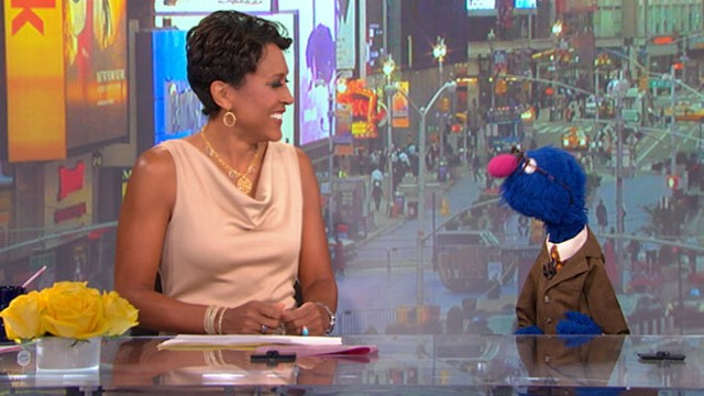 """VIDEO: """"Sesame Street"""" star pokes fun at """"GMA"""" anchor George Stephanopoulos."""