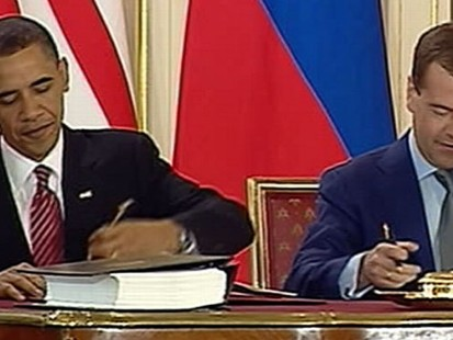 VIDEO: President Obama and President Medvedev sign historic arms reduction treaty.