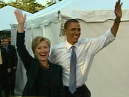 Barack Obama and Hilary Clinton