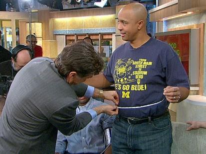 VIDEO: Dr. Oz measureing a GMA crew members waist.