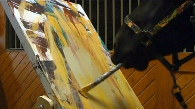 VIDEO: The 9-year-old horses paintings are expected to fetch hundreds of dollars.