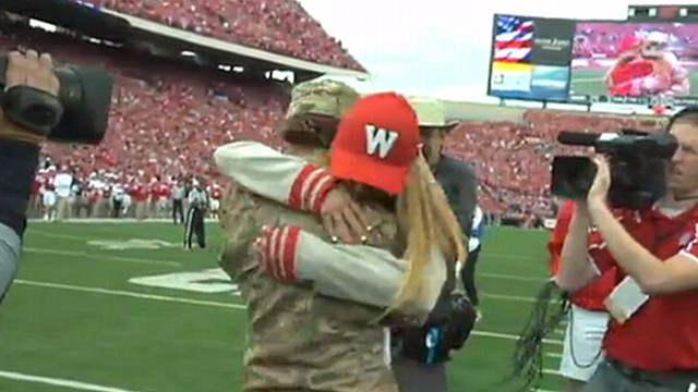 Wisconsin Honors Military Fan of Game With Mothers Surprise Return
