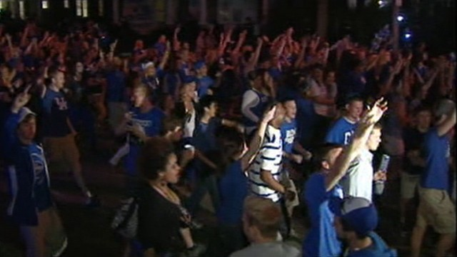 VIDEO: National championship followed by riots, fires and a shooting in Lexington.