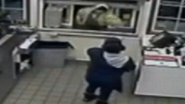 VIDEO:The employee threw a pot of coffee in the alleged robbers face.