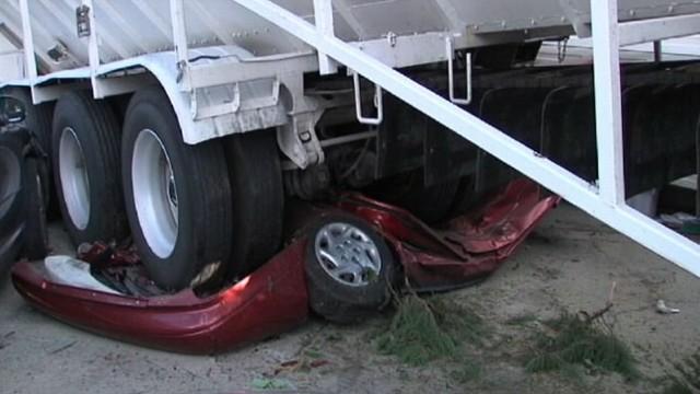 VIDEO: Runaway Truck Flattens Car