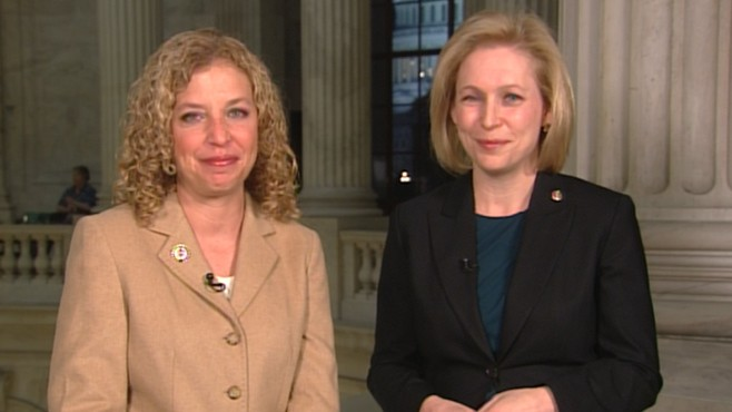 VIDEO: Sen. Kristin Gillibrand and Rep. Debbie Wasserman Schultz were by her side.