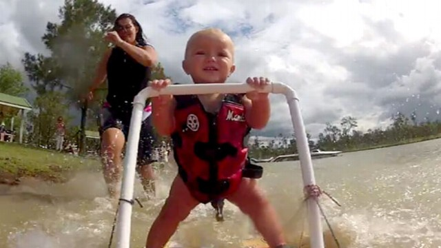 VIDEO: Baby Learns to Water Ski