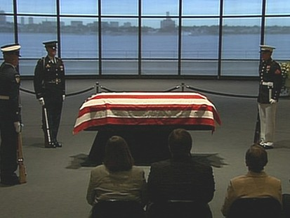 VIDEO: Thousands turn out as the senator lays in repose at JFK Library.