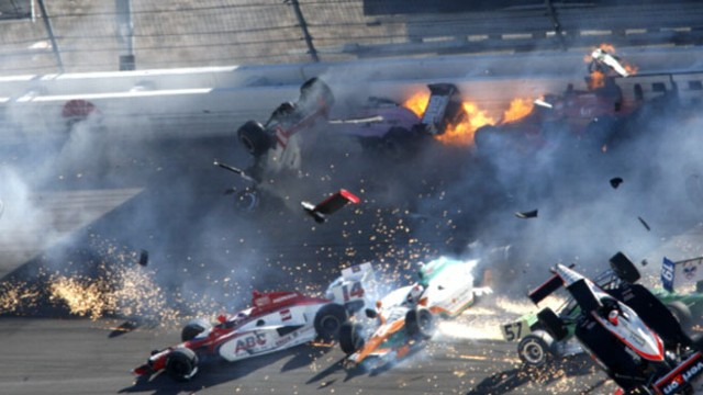 VIDEO: A fiery crash involving 15 cars claims the life of Indy 500 winner Dan Wheldon.