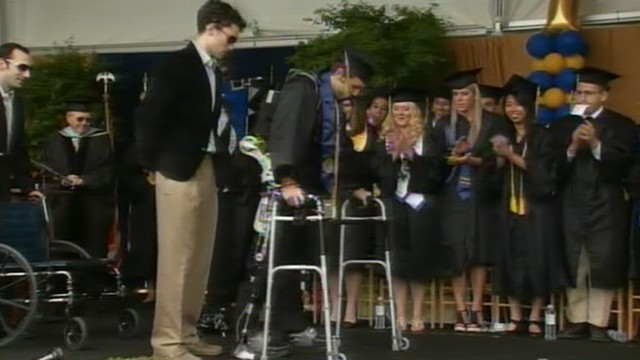 VIDEO: Disabled Student Walks at Graduation Ceremony