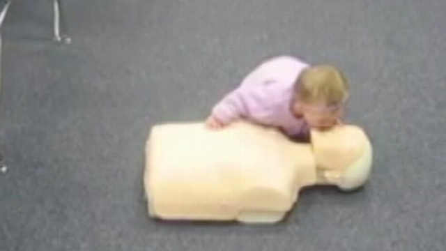 VIDEO: Cute Baby Practices Life Saving Skill