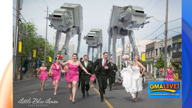 VIDEO: Bridal Party Attacked By Star Wars AT-AT Walkers