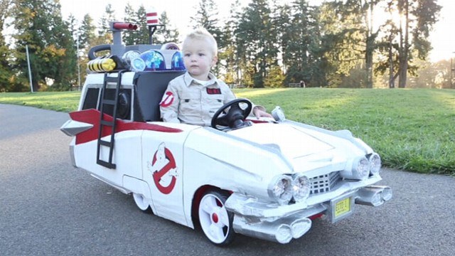 VIDEO: Cooper, 2, has a tricked out Ghostbusters car to ride in while trick-or-treating.