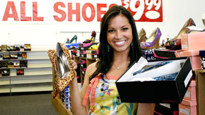 Melissa Rycroft bargain shopping for shoes at Off Price Shoes in Dallas, Texas.