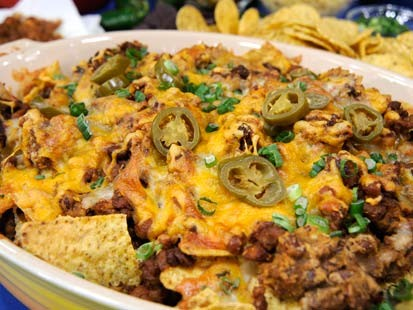 Spicy Sausage, Bean and Cheese Nachos