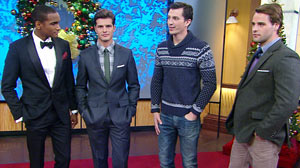 "PHOTO ""Good Morning America"" teamed up with Details magazine to showcase outfits that will keep guys looking stylish and festive this season."