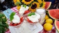 "PHOTO: Carla Hall whips up a fresh strawberry parfait for ""Good Morning America."""