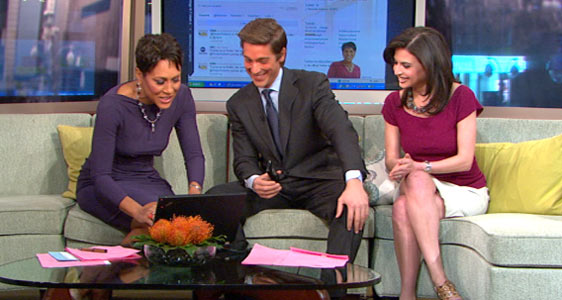 "PHOTO Robin Roberts, left, sends her first Tweet, on ""Good Morning America,"" March 21, 2011."