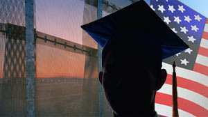 PHOTO The US-Mexico border wall is shown near Tijuana, Mexico. Thousands of undocumented students, many brought to the US as children, are fighting to get an education the United States.