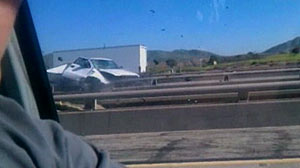PHOTO: An elderly man is caught on tape driving the wrong way on the freeway, causing a major collision.