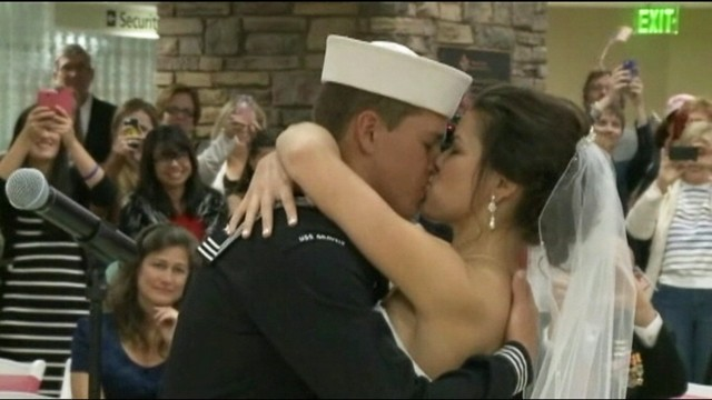 VIDEO: Navy seaman Dylan Ruffer married his fiancee at a ceremony at Reno-Tahoe International Airport.