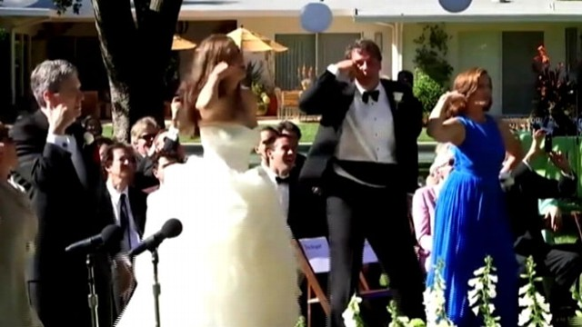 "VIDEO: Bride and 100 wedding guests dance to ""Call Me Maybe"" at ceremony on June 15, 2013."