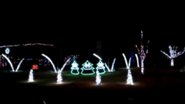 "Jay Perkins, of Tulsa, Okla., set his Christmas light display to Ylvis viral hit, ""The Fox."""