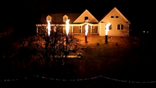 Flame-shooting Christmas light show heats things up on the Jersey Shore this holiday season.
