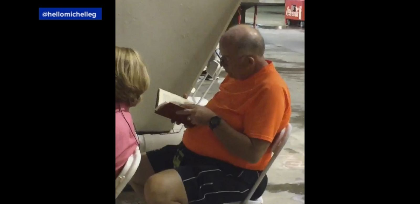 VIDEO: George Papageorgiou, 66, watched Beyoncé's performance for the first 15 to 20 minutes and then sat down and opened his book.