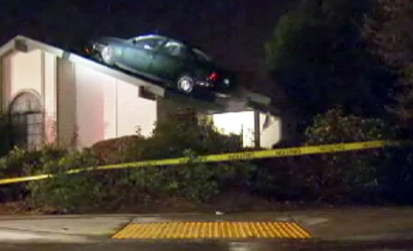 VIDEO: The driver in Fresno, Calif., went airborne after hitting a tree stump.