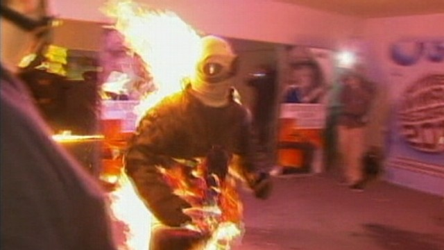 VIDEO: A man in Germany runs 394 feet while on fire, setting record.