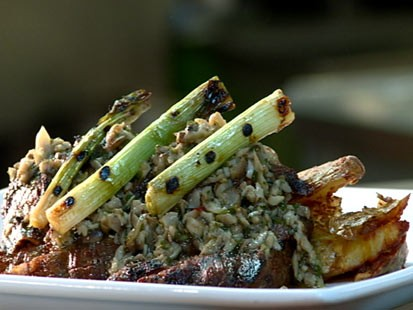 PHOTO: Shown here is a plate of mushroom chimichurri and asparagus.
