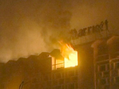 Hotel On fire after bombing in Pakistan.