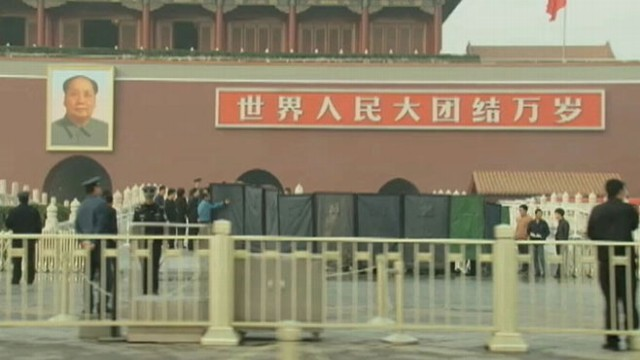 VIDEO: Vehicle crashed into a crowd and burst into flames in front of the Chinese landmark.
