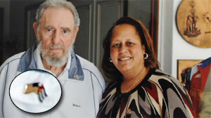 Exclusive Photos Show Fidel Castro Wearing American Flag Pin