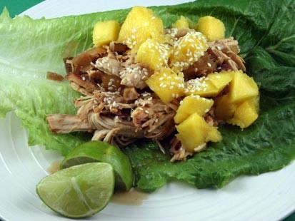 PHOTO:??Stephanie ODea prepares sweet and sour mango lettuce wraps for Good Morning America recipes.