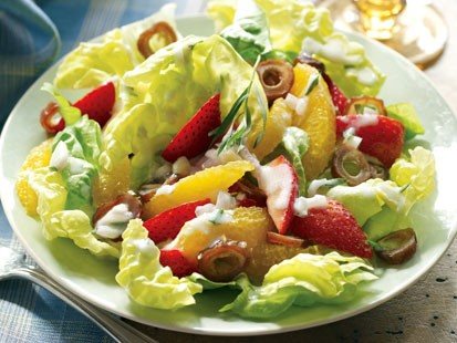 Paula Deens Orange, Strawberry, and Date Salad With Buttermilk Dressing