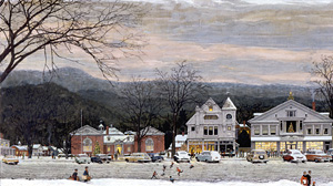 Stockbridge Main Street at Christmas was begun in 1956 and completed for McCall?s magazine in 1967. Norman Rockwell