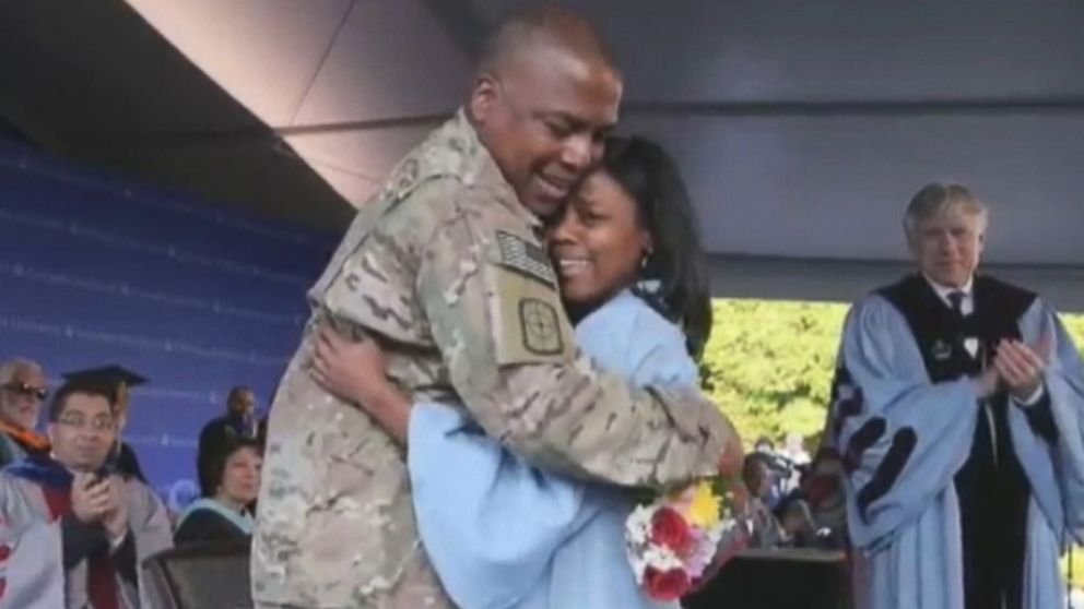 Capt. Keith Robinson, home from Afghanistan, surprised his daughter at Columbia University.