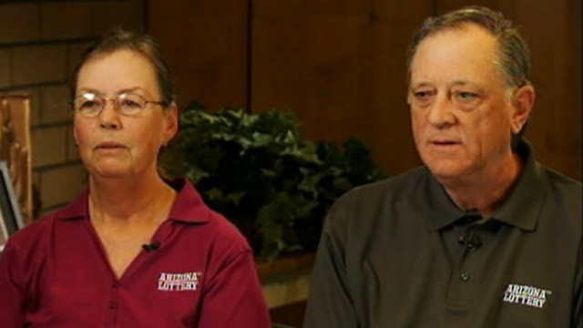 VIDEO: Diane and Kerry Carmichael, recipients of a $1 million prize, first won the lottery in 1995.