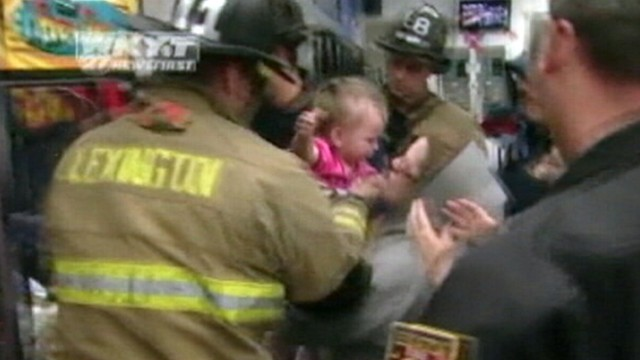 VIDEO: Kentucky firefighters retrieved Katelyn Campbell from a vending machine.