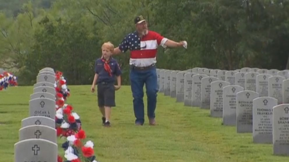 VIDEO: Joseph Brunson, 7, and his grandfather spent the weekend placing flowers on veterans graves in Texas.