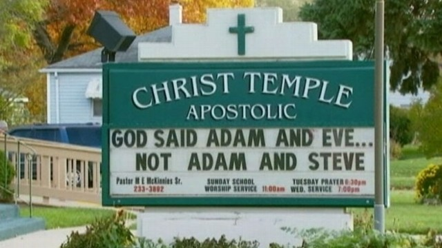 """VIDEO: Church in South Bend, Ind., put up sign that read """"God said Adam and Eve. Not Adam and Steve."""""""