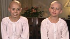 PHOTO: Kamryn Renfro, right, was not allowed in the classroom when she showed up with a bald head to support her friend, 11-year-old Delaney Clements, who lost her hair because of chemotherapy while battling a rare childhood cancer.
