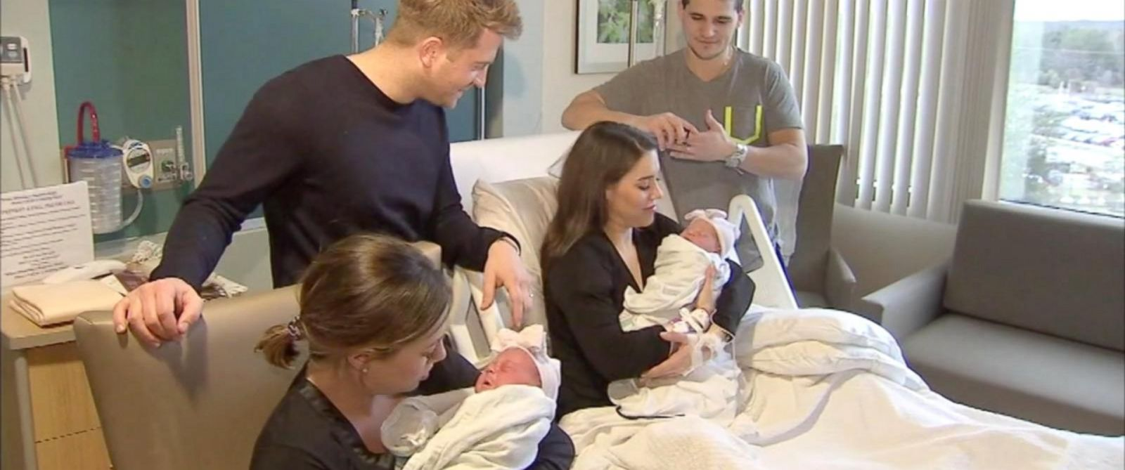 PHOTO:Twin sisters from New Jersey gave birth to their daughters just minutes apart at the same hospital.