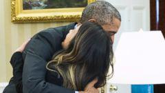 PHOTO: President Barack Obama hugs Ebola survivor Nina Pham in the Oval Office of the White House in Washington, D.C. on Oct. 24, 2014.