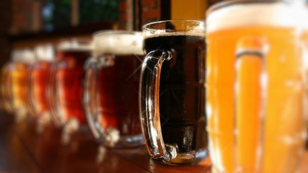 PHOTO: Six different beers are lined up on a bar in South London.
